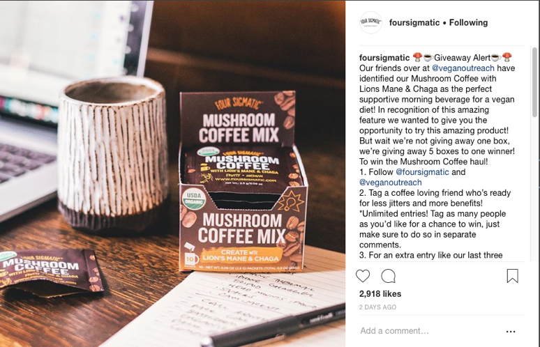 Social media post from Four Sigmatic featuring one of their mushroom coffee mix product