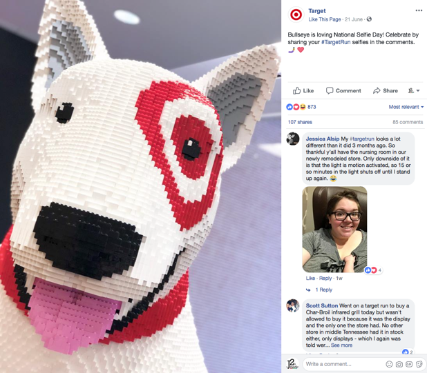 """Social media post from Target featuring the dog """"Bullseye"""" made out of legos"""