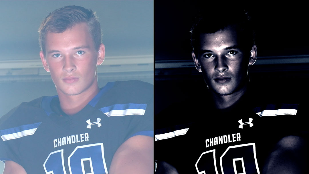 Comparing an edited and unedited close up of a CHS football player